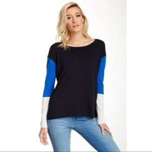 VINCE Tri Color ColorBlock Cotton Sweater